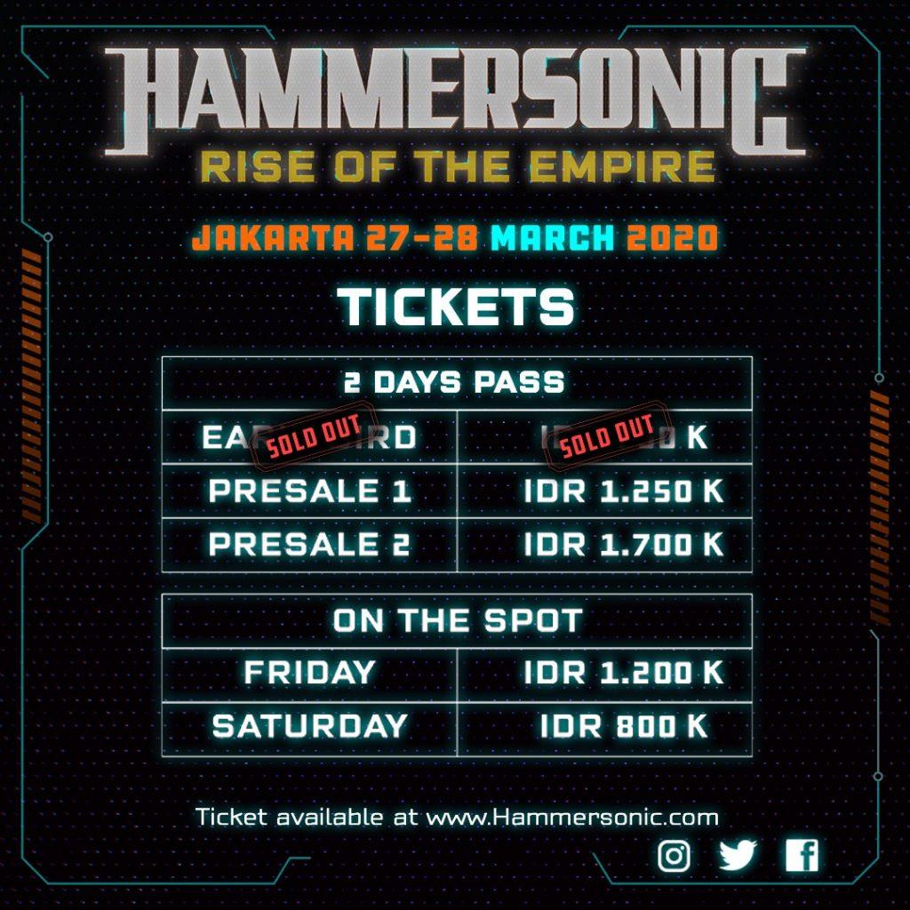 Hammersonic Ticktes Pricelist Update
